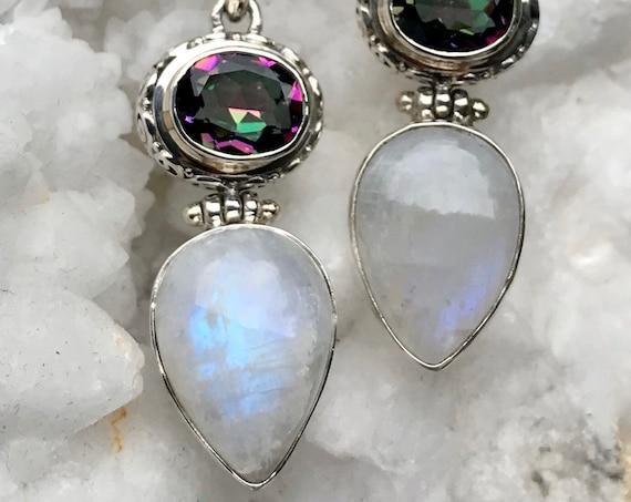 Rainbow Moonstone and Mystic Quartz Necklace