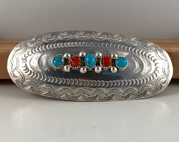 Vintage Sterling Silver Turquoise & Coral Hair Barrette Clip, Signed by Acclaimed Navajo Artist, DC Thomas - Free Shipping!