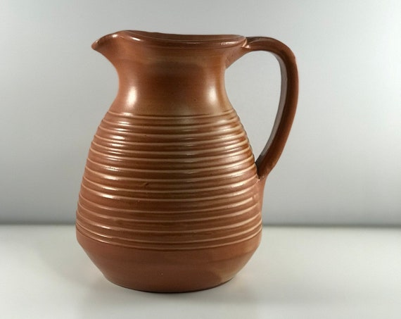 AKROKERAMO Antique/Vintage Pitcher - Handmade in Greece - Red Terra Cotta Clay - Stamped!