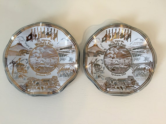 1974 World's Fair in Spokane, Washington -(Set of Two) Small Ruffled Edged Collector Plates **SALE**