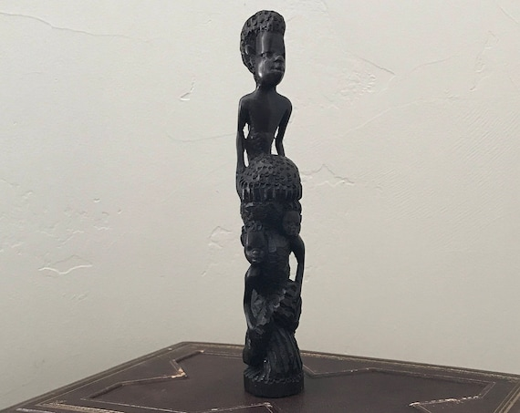 "African Hand Carved Tribal Art Figures ""Tree of Life"" Sculpture"