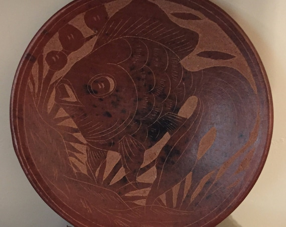 Indonesia Red/Orange Clay Pottery Koi Fish Plate - Partially glazed/carved details and speckles of black in the clay.