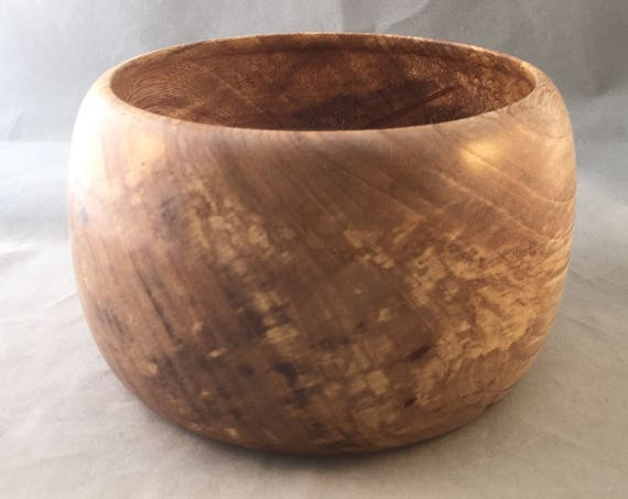 Elm Wood Decorative Bowl - Beautiful and Unique Color Variations - Desk Clip and Band Holder - Decor