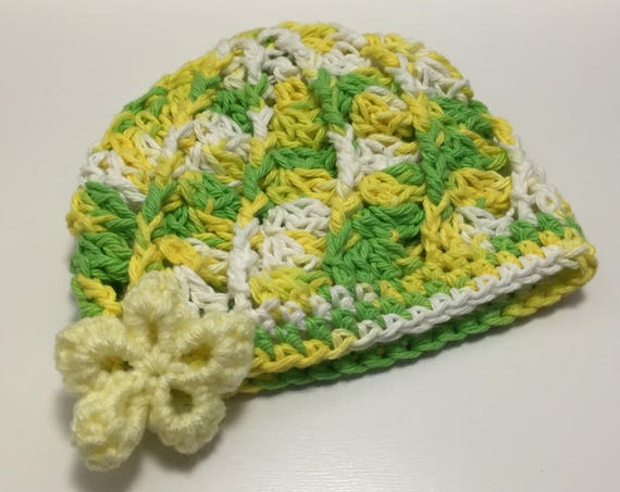 Baby Girl/Doll - Handmade Crochet Hat with Flower Accent