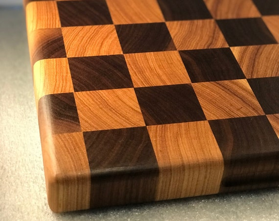 "Large End Grain Black Walnut & Hickory Cutting Board - Cheese Board - Bread Board - Butcher Block - Grooved Side ""Handles"""