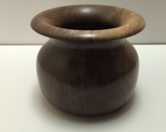 Hand Turned Black Walnut Decorative Bowl with Fluted/Rolled Rim