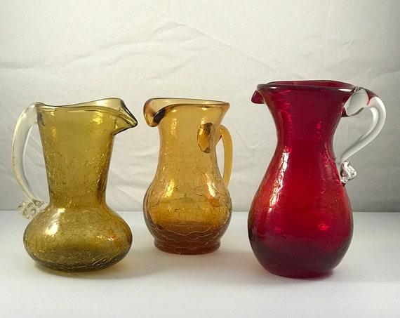 Set of (3) Mid Century Crackle Glass - 1950's - Mini Cruet's - Mini Pitcher's - Pilgrim Glass