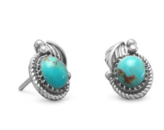 Southwest Style Reconstituted Turquoise Stud Earrings