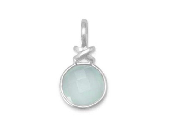 "Faceted Sea Green Chalcedony Pendant with ""X"" Design"