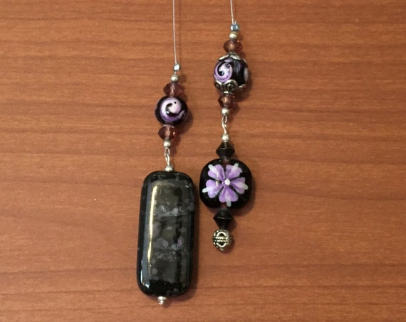 Black Beaded Wire Book Mark with painted Purple Floral Accents