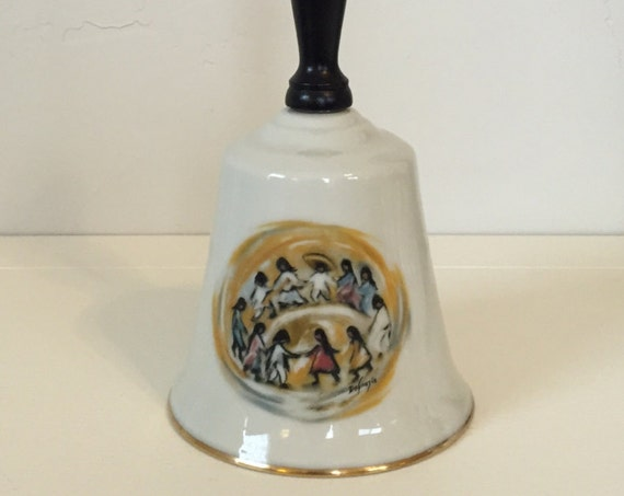 "DeGrazia ""Los Ninos"" 1980 First Edition of the Artist of the World Large Collector Fine China Bells, numbered 1041/7500"