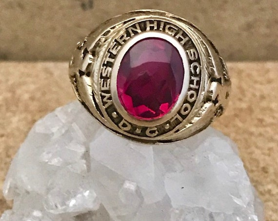 Western High School, Washington D.C. Class Ring - Initials and dated 1949 engraved inside. Martin Brand - stamped 10k.