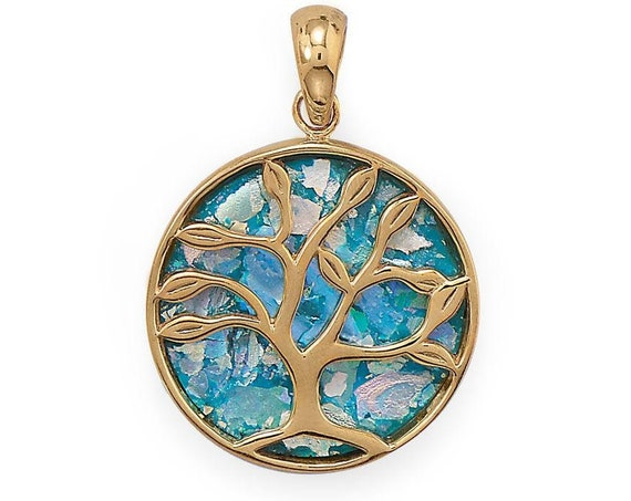 Growth and Renewal Tree of Life Roman Glass Pendant with Optional Chain