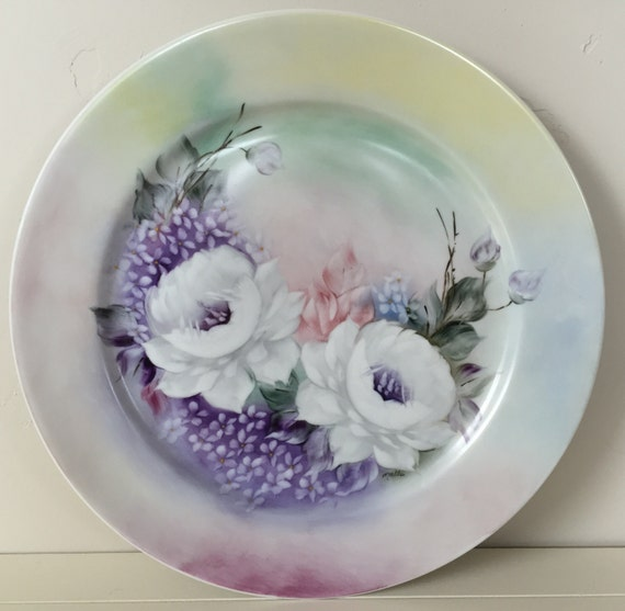 "Hand painted 12"" Porcelana Schmidt plate, signed by artist ""Mallo"" from Rio Verde, Brazil"