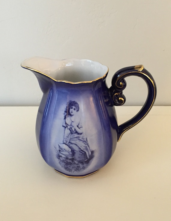Beautiful Ornate Cobalt Blue Pitcher, Marked RS Prussia (Vintage Reproduction) **Sale**