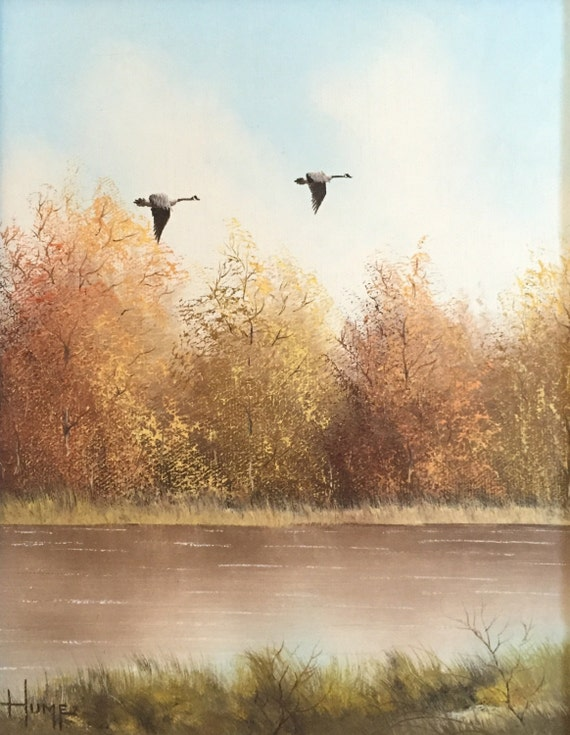 Original Fall Landscape Painting - Oil on Canvas by Listed Artist, Bruce A. Hume (Free Shipping Option in description!)