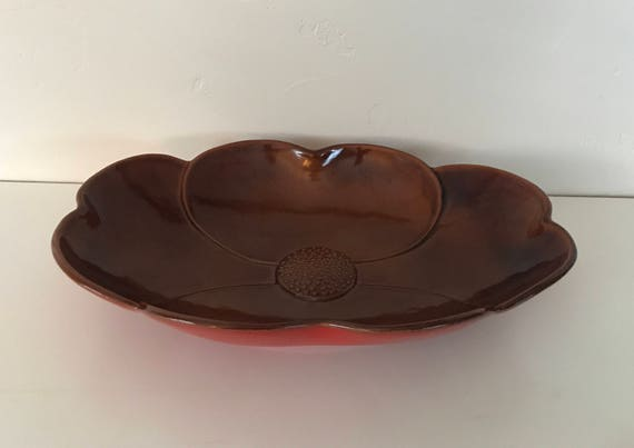 Large Serving Bowl - Frankoma #200 Dogwood Pattern - Flame Red Exterior - Dark Brown Interior