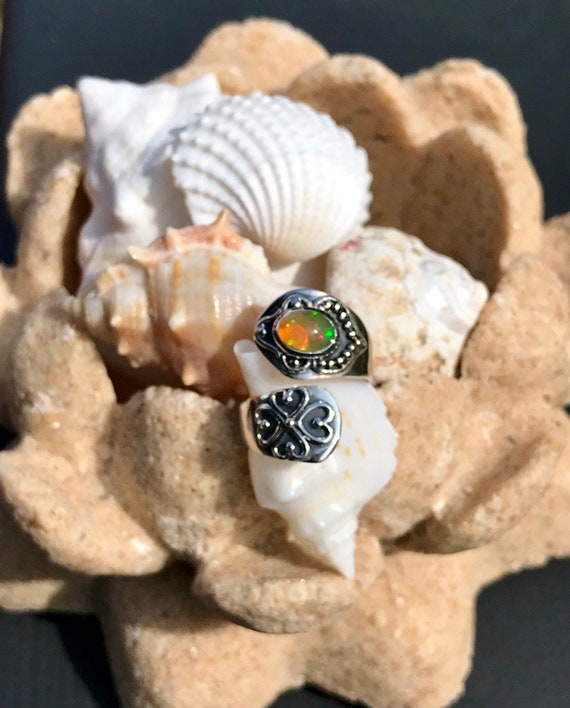 Sterling Silver and Genuine Ethiopian Opal Wrap Ring
