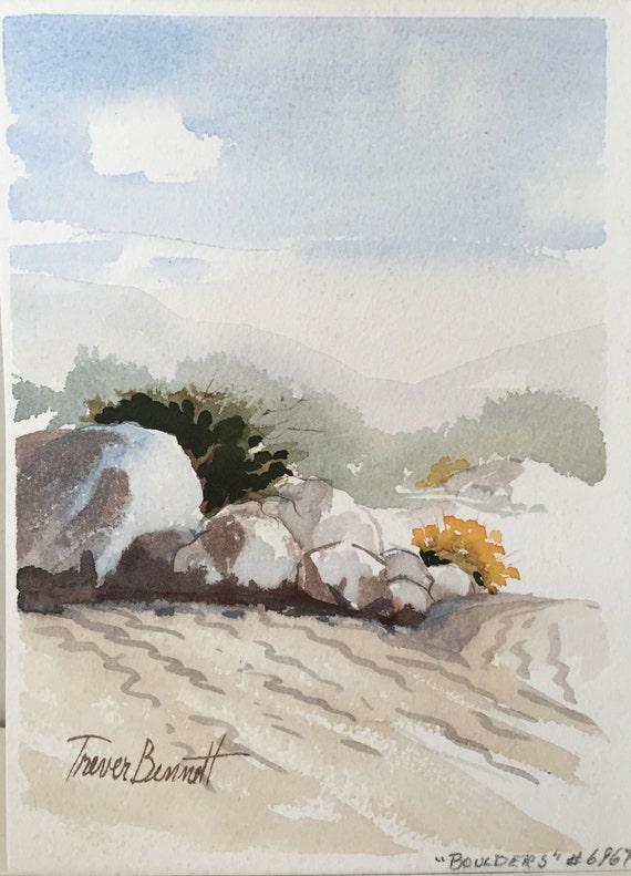 "Original watercolor painting by listed California artist, Harriett E. Trever Bennett (1914-2005) - ""Boulders"" -**Sale**"