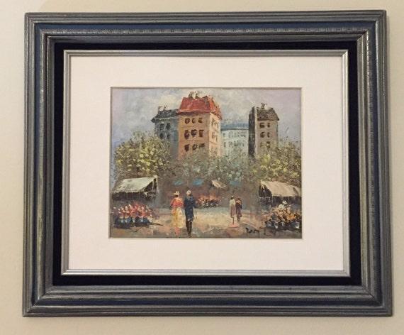 Original Paris Street Scene Impasto Oil on Canvas, Under Matt/Glass in Ornate Frame, Signed by Artist