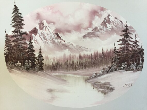 Beautiful Original Winter Landscape Painting by Bob Ross Trained Artist and Certified Teacher, Thelma Thon-Sevey