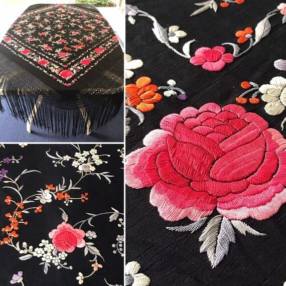Piano Shawl - Hand Embroidered - Black Silk - Italian - circa 1920