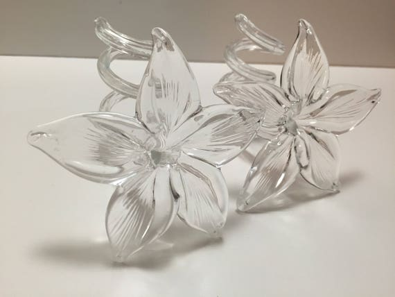 Candlestick Holder Set - Elegant Clear Blown Art Glass Flowers With Twisted Stems