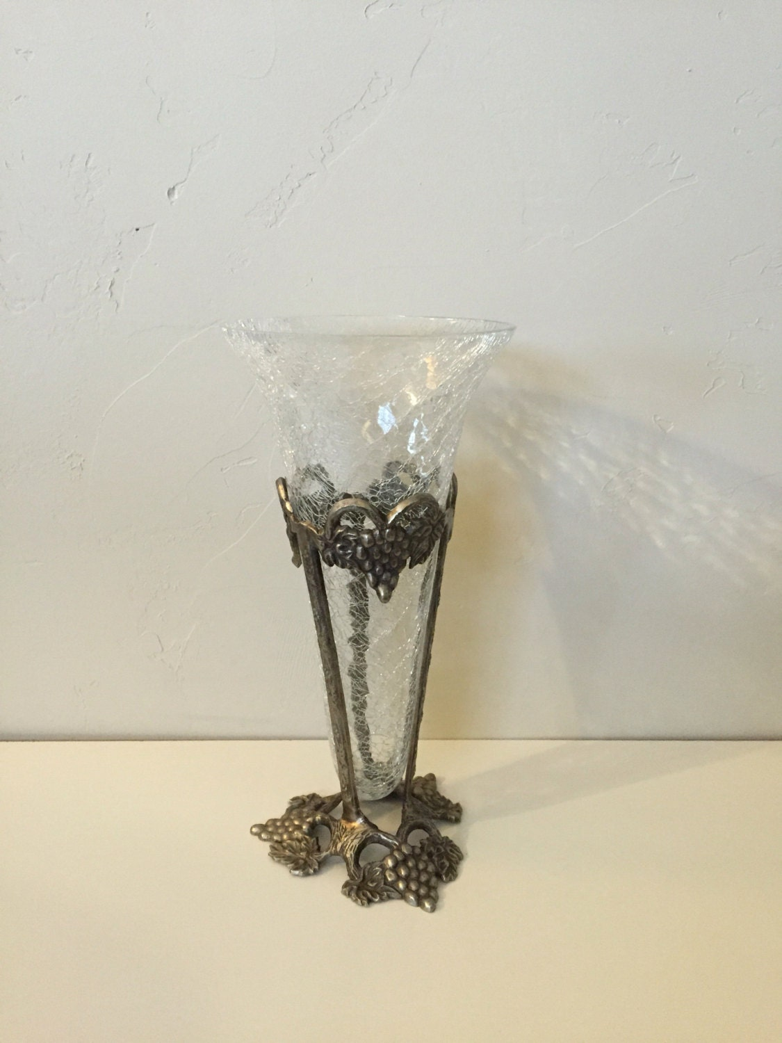 Gatco Brass, Made in India: Tall Crackle Glass Cone Vase