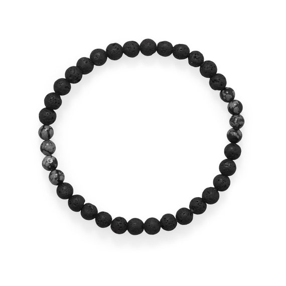 "8"" Black Lava and Snowflake Obsidian Stretch Bracelet"