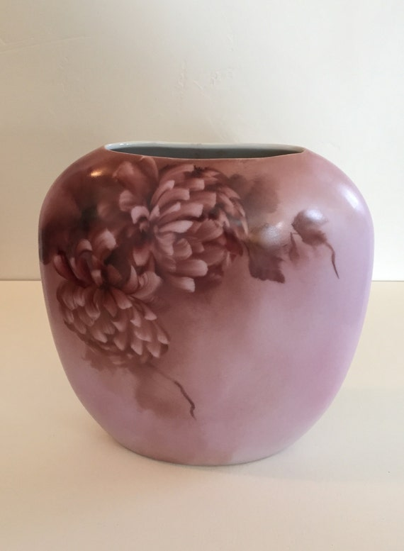 """Dusty Rose/Pink Hand Painted Floral Vase, signed by artist """"SPK"""""""