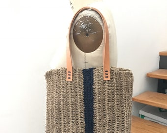 Summer Jute Tote/Navy Stripe