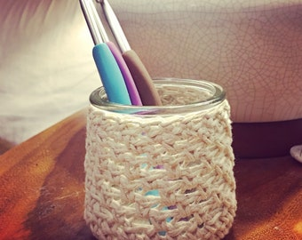 Crochet Covered Glass Catch-All