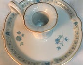 Haviland Limoges Candlestick with blue flowers and gold trim