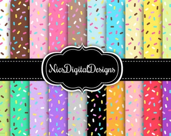 20 Digital Papers. Sprinkles in Pretty Colours (7 no 3) for Personal Use and Small Commercial Use Scrapbooking