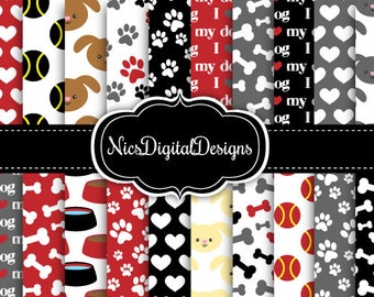 20 Digital Papers-Dog Mixed Patterns in Black and Red (1D no 1) for Personal Use and Small Commercial Use Scrapbooking