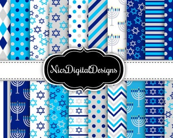 20 Digital Papers. Hanukkah Patterns in Blue and Silver (1K no 1) for Personal Use and Small Commercial Use Scrapbooking