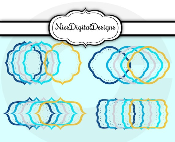20 PNG Mixed frames in Hanukkah Colours 2 (12J no 2) for Personal ...
