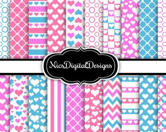 20 Digital Papers. Valentine Patterns in Blue and Pink (1D no 2) for Personal Use and Small Commercial Use Scrapbooking