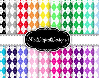 20 Digital Papers.  Argyle in Rainbow Colours (7D no 1) for Personal Use and Small Commercial Use Scrapbooking