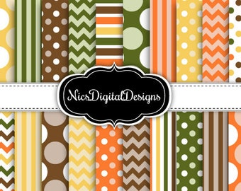20 Digital Papers.  4 Tone Patterns in AutumnColours (4D no 1) for Personal Use and Small Commercial Use Scrapbooking