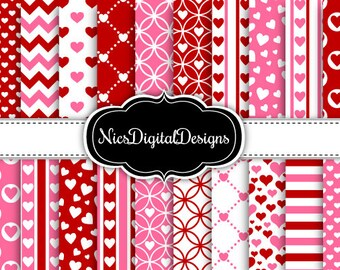 20 Digital Papers. Pink and Red Hearts for Valentine's Day (1B no 2) for Personal Use and Small Commercial Use Scrapbooking