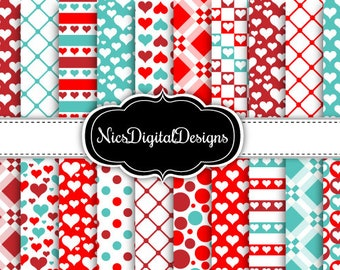 20 Digital Papers. Plaid Valentine Patterns in Red and Green (1D no 2) for Personal Use and Small Commercial Use Scrapbooking