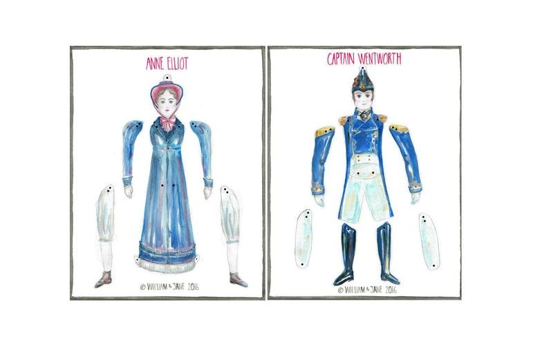 Pantin Jumping Jack Persuasion Jane Austen Anne Elliot /& Captain Wentworth DIY Instant Digital Download Paper Doll Party Decor