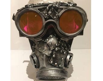 Steampunk Riveted Respirator Gas Mask With Riveted Flip Up Goggles, Post Apocalyptic Survival, Mad Max, Burning Man, Wasteland Style