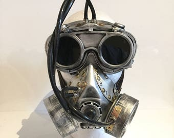 Steampunk / Dieselpunk Respirator Gas Mask And Flip Up Goggles, Post Apocalyptic Survival, Mad Max, Burning Man, Wasteland Style
