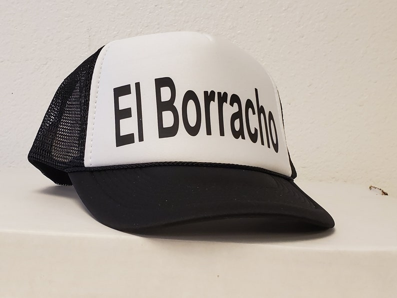 El Borracho The Drunk Snap Back TRUCKER MESH Back Black Hat