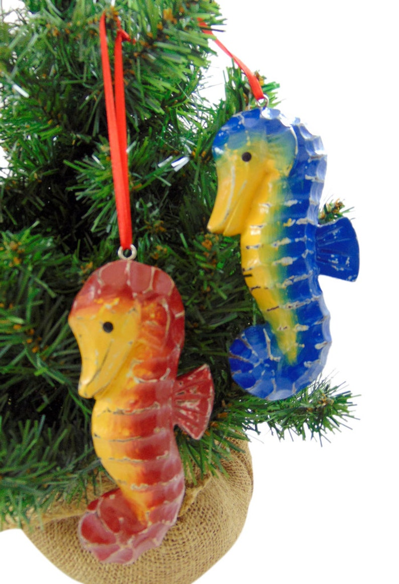 Seahorse Ornaments Handmade and Painted Wooden Christmas Tree Decoration Set of 2