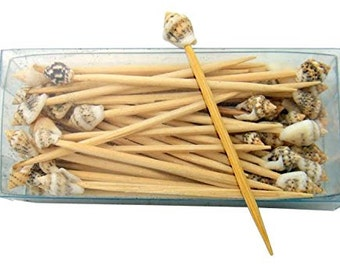 Real Seashell and Wood Toothpick Party Pack
