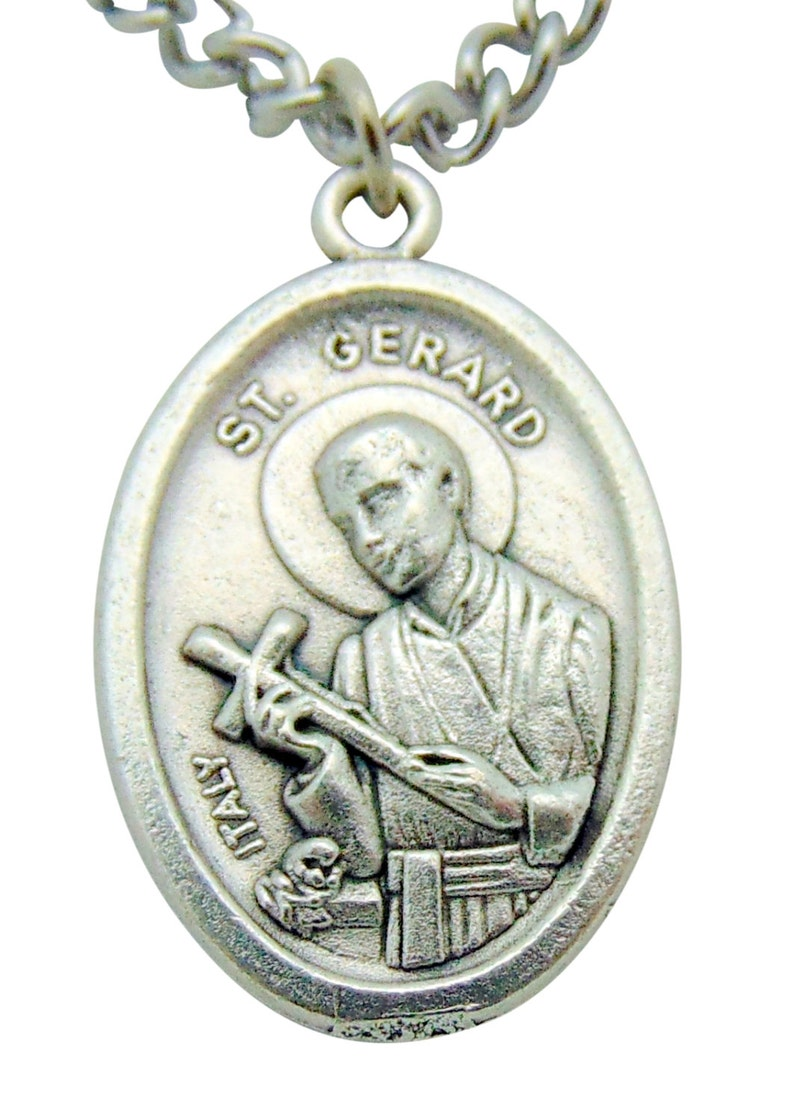 St Gerard Medal 34 Pendant w 24 Endless Stainless Steel Chain