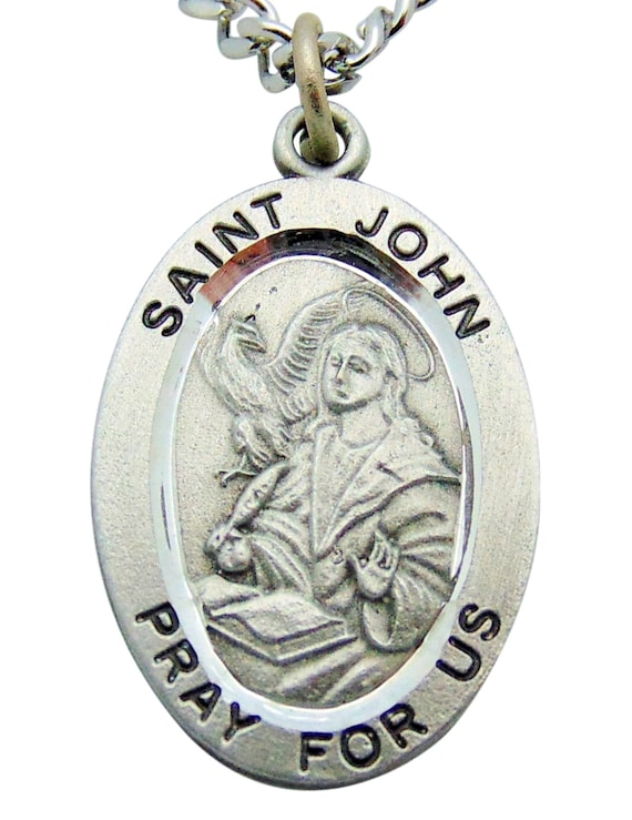 Pewter Medal and Stainless Steel Chain St Dominic Medal Chain /& Prayer Card